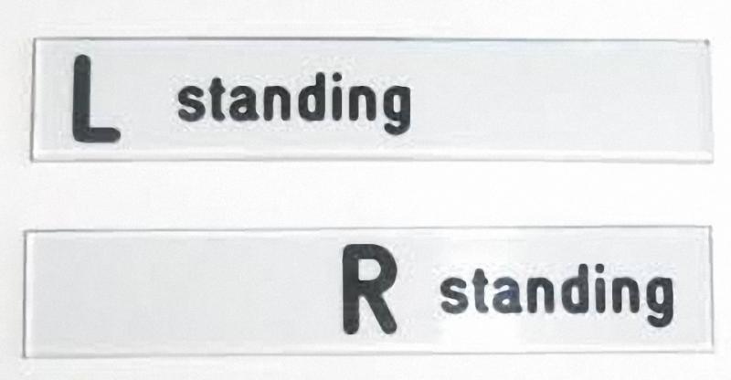 Textschablonen mit L und R