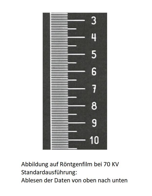 Röntgenlineal 1 mm Schritt Wolfram Röntgenfilmmarkierungen